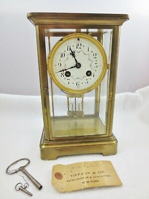 Antique TIFFANY & Company Ornate French Mantle Clock Original Keys and Sales Tag