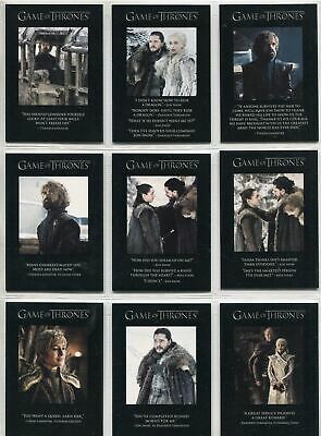 Game Of Thrones Season 8 Complete Quotable Chase Card Set Q71-79