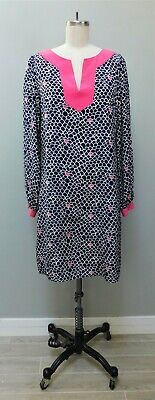 Lilly Pulitzer Silk Navy Scallop Shell Print Shift Dress Pink White 8