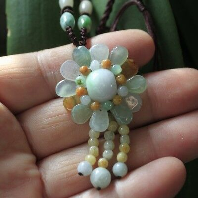Gemstone 100% Natural Jadeite Jade Grade A Beautiful Handmade Flower Pendant