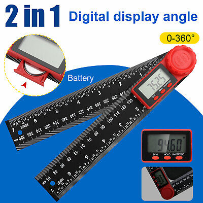 """2 In 1 Electronic LCD Digital Angle Finder 200mm 8"""" Protractor Ruler Goniometer"""