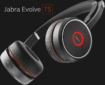 Jabra Evolve 75 On the Ear Wireless Headset - Black - Active Noise Cancellation
