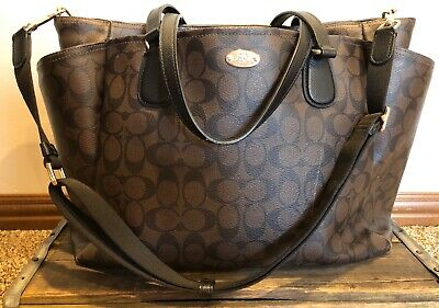 Coach Brown Leather Authentic Diaper Bag Large With Changing Pad Crossbody