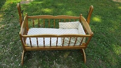 Vintage Wooden Spindle Jenny Lind Style Baby Cradle,  Swinging Bassinet