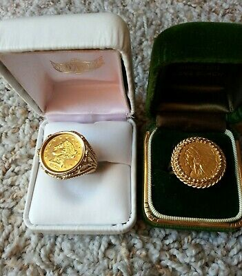 1911 Quarter Eagle $2.50 Gold Coin 14 Karat Solid Gold Ring And Setting