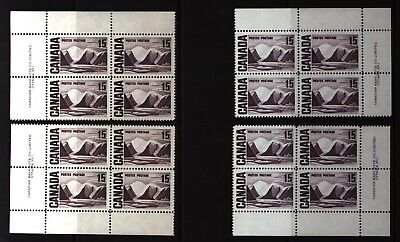 CANADA SET OF 4 PLATE BLOCKS 1 OF #463MNH 15c GREENLAND MOUNTAINS BY HARRIS #1