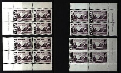 CANADA SET OF 4 PLATE BLOCKS 1 OF #463MNH 15c GREENLAND MOUNTAINS BY HARRIS #3