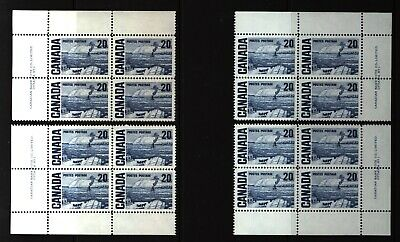CANADA SET OF 4 PLATE BLOCKS 1 OF #464MNH 20c THE FERRY, QUEBEC BY J. MORRICE #1