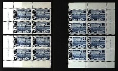 CANADA SET OF 4 PLATE BLOCKS 2 OF #464MNH 20c THE FERRY, QUEBEC BY J. MORRICE #1