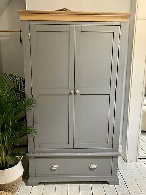 Oak and Grey Painted Two Door Wardrobe with Drawer