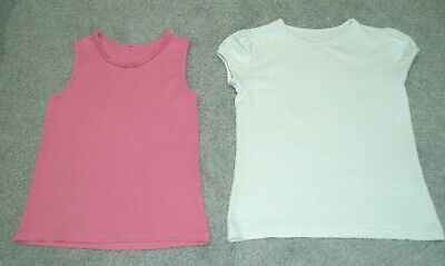 GIRLS TOPS x 2 - GEORGE - PINK VEST & WHITE SCHOOL TOP - AGE 8-9yrs