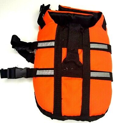 Small dog life vest orange black water safety equipment hook and loop buckle euc