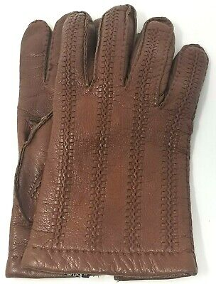 Neiman Marcus womens cashmere lined leather driving gloves size 9.5 brown