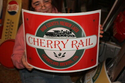 "Vintage Cherry Rail Beer Bar Tavern Gas Oil 18"" Curved Porcelain Metal Sign~Nice"