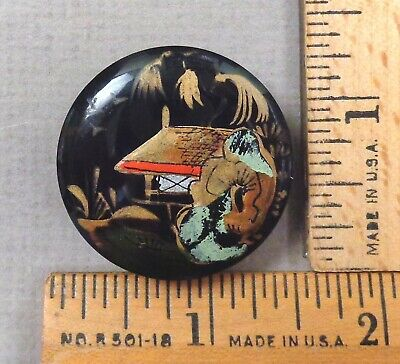 RURAL ORIENTAL SCENE Antique BUTTON w/ Raised Paint on Bakelite, Early 1900s