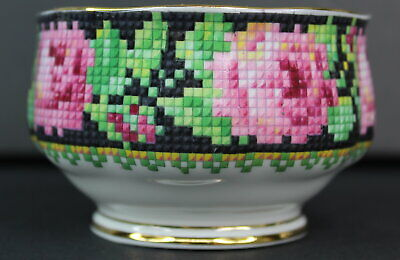 Royal Albert Needle Point Mini Open Sugar Bowl Crafted in England Vintage