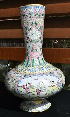 "vintage old antique CHINESE enamel on copper painted VASE 15.5"" cloisonne look"