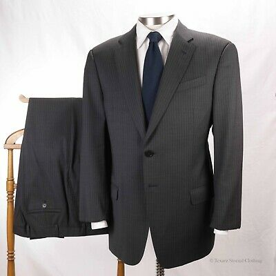 ARMANI COLLEZIONI Grey Pinstripe 2-Button Flat Front Wool Suit Made in Italy 42R