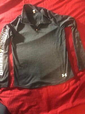 Under Armour Youth Girls Loose Half Zip Long Sleeve Tee Gray Size XL