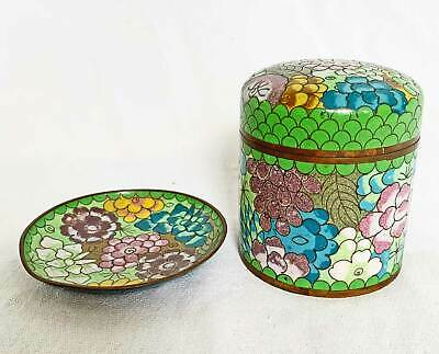 Box Antique Chinese Cloisonne Enamel Round Under Plate Flowers Floral Lid Green