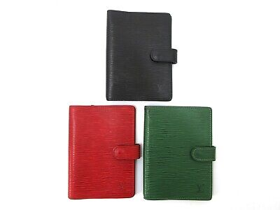 Authentic 3 Item Set LOUIS VUITTON Epi Agenda PM Red Black Green Leather 81867
