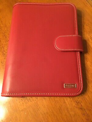 "RED Franklin Covey Day planner Day 1 Ne 7 Rings 7x10"" Only No Inserts Free Ship"