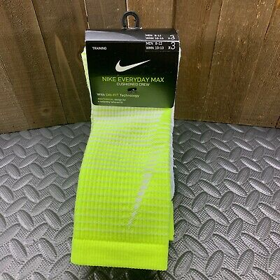 Nike Everyday Max Cushion Crew Training Socks 3 Pairs Men's Large 8-12 SX5550
