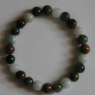 100% Natural JADE (Grade A) Beautiful Multi-Color Jadeite Beaded Bracelet #Br301