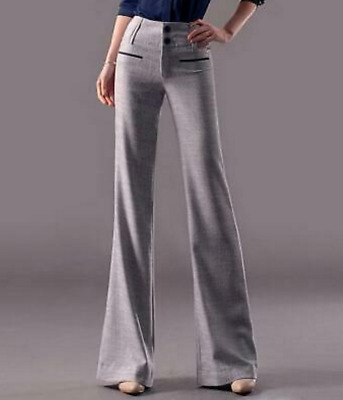 Light Gray US L  Women Long Cotton Linen Flare Pants Loose OL High Rise gy00
