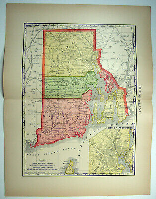 Original 1895 Map of Rhode Island by Rand McNally. Antique