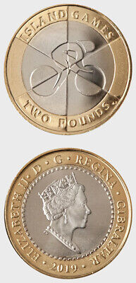 Gibraltar Island Games 2019 Cycling 2 pound coin BU