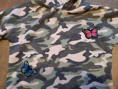 Girls camo camouflage cropped hoodie age 5 with blue pink butterflies