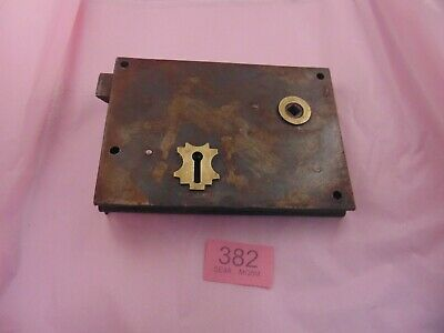 Antique  Brass And Steel Rim Door Lock  382