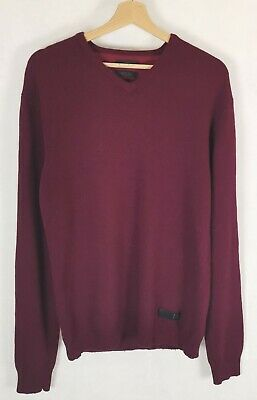 TIGER OF SWEDEN Sweatshirt Mens L Jumper Wool Blend V Neck Burgundy Size Large