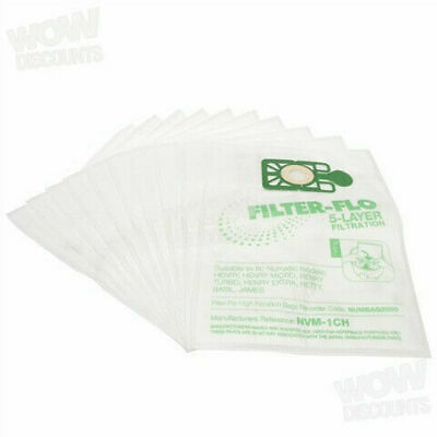 10 x Numatic Henry Hoover FILTER-FLO Microfibre Vacuum Cleaner Hoover Dust Bags