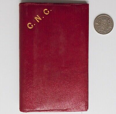 Vintage red leather wallet embossed initials CNC mid-20th century good quality