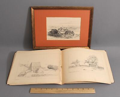 Antique 19thC American Artist Sketch Book Pencil Drawings Cape Cod & New Jersey