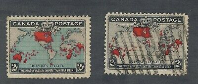 2x 1898 Canada 2c Xmas stamps #85i Used #86b-MNG Both F/VF Guide Value = $55.00
