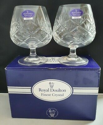 ROYAL DOULTON CRYSTAL HELLENE PATTERN 2 x BRANDY BALLOON GLASSES UNUSED BOXED