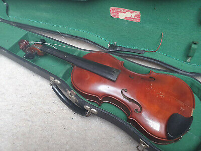 Nice, old 7/8 Violin Ladislav Prokop 1934 violon, deeply flamed , original case!