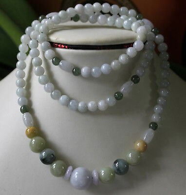 100% Natural (Grade A) Untreated Multi-Color Jadeite JADE Handmade Necklace 27""
