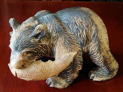 Traditional Japanese Crafts-Wood Carving Bear and Fish Hokkaido Japan Ainu 30cm