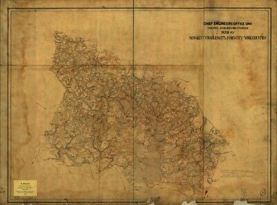 1863 map of New Kent, Charles City, James City and York counties|Size 18x24 - Re