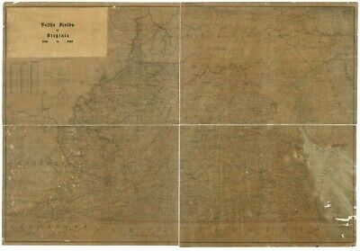 1900 map Battle fields of Virginia 1861 to 1865|Size 16x24 - Ready to Frame| Civ