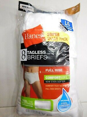 Hanes Mens Size L Large White Briefs Value 8-pack Tagless