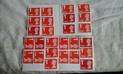 25 x Large 1st class Red security stamps unfranked WITH gum