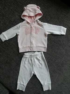 GAP Girls Tracksuit Outfit - 3-6 Months - Pink & White - WORN ONCE