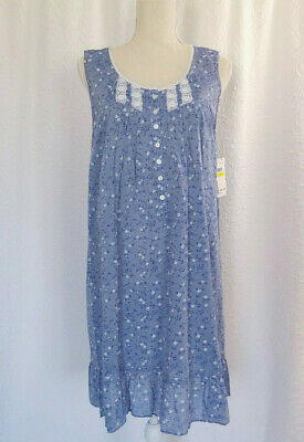 Eileen West Blue Floral Chambray Cotton Sleeveless Chemise Nightgown  M