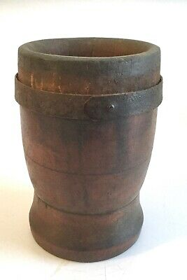 OLD Antique Wooden Mortar Vessel with Handmade Iron Strap RUSTIC PRIMITIVE