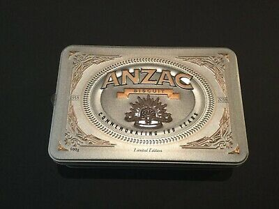 Collectable Anzac Biscuit Tin Commemorating 100 Years 1918-2018 ( Empty )